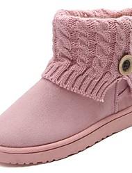 Feminino Sapatos Couro Ecológico Outono Inverno Conforto Botas de Neve Botas Rasteiro Ponta Redonda Botas Cano Médio Para Casual Preto