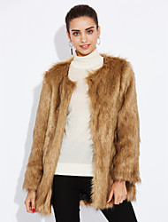 cheap -Women's Going out Simple Casual Winter Fur Coat,Solid Long Sleeve Regular Faux Fur