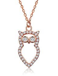 Femme Pendentif de collier Zircon cubique Chouette Argent sterling Zircon Mode Le style mignon Bijoux Pour Décontracté