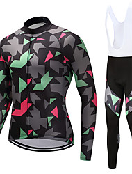 cheap -FUALRNY® Men's Long Sleeves Cycling Jersey with Bib Tights - Grey Bike Clothing Suits, Quick Dry, Reflective Strips