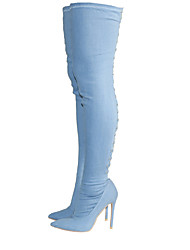 cheap -Women's Shoes Denim Spring Fall Fashion Boots Slouch Boots Boots Stiletto Heel Pointed Toe Thigh-high Boots Rivet Zipper Lace-up For