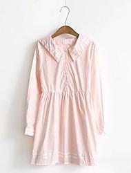 Ample Robe Femme Soirée Décontracté / Quotidien Couleur Pleine Col Rond Claudine Midi Mi-long Manches Longues Coton Autres Printemps