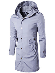 cheap -Men's Daily Going out Simple Casual Spring Fall Trench Coat,Solid Hooded Long Sleeve Long Polyester Others