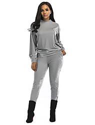 abordables -Mujer Simple Deportes Casual/Diario Primavera Otoño Invierno T-Shirt Pantalón Trajes,Cuello Barco Un Color Manga Larga Microelástico