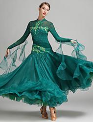Dança de Salão Vestidos Mulheres Apresentação Elastano Tule Fibra de Leite 1 Peça Manga Comprida Natural Vestido