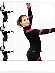 Figure Skating Fleece Jacket Women's Ice Skating Dress Peach Red Blue Pink Royal Blue Stretchy Stripe Performance Practise Stretchy Long