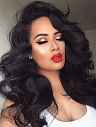 cheap -Women Human Hair Lace Wig Human Hair Glueless Full Lace 150% Density With Baby Hair Wavy Wig Black Long Natural Hairline