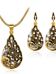 Women's Stud Earrings Necklace Crystal Rhinestone Fashion Luxury Crystal Rhinestone Drop Earrings Necklace For Party Wedding Gifts
