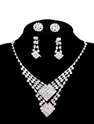 cheap -Women's Flower Rhinestone Chain Necklace Y-Necklace  -  White Necklace For Wedding Party Party / Evening