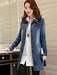 cheap -Women's Going out Street chic Fall Denim Jacket,Letter Shirt Collar Long Sleeve Regular Others