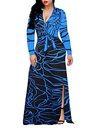 Women's Going out Plus Size Sheath Swing Dress,Print Color Block Deep V Maxi Long Sleeves Polyester Spring Fall High Rise Micro-elastic