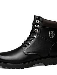 Masculino sapatos Pele Real Pele Napa Pele Inverno Coturnos Forro de fluff Botas da Moda Botas de Moto Curta/Ankle Botas Botas Curtas /