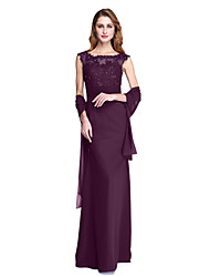 cheap -Sheath / Column Jewel Neck Floor Length Chiffon Mother of the Bride Dress with Beading / Appliques / Sash / Ribbon by LAN TING BRIDE® / Beautiful Back / Wrap Included