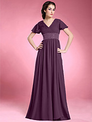 cheap -A-Line V Neck Floor Length Chiffon Mother of the Bride Dress with Beading Draping Pleats Ruched Criss Cross by LAN TING BRIDE®