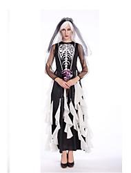 abordables -Mariée Tenue Femme Halloween Le jour des morts Fête / Célébration Déguisement d'Halloween Noir Rayure Rétro