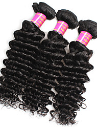 cheap -Unprocessed Peruvian Natural Color Hair Weaves Deep Wave Hair Extensions 3PCS Black