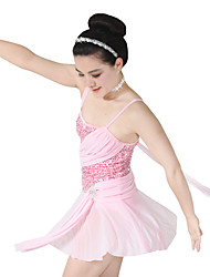 cheap -Ballet Dresses Women's Children's Performance Elastic Elastane Sequined Lycra Pleated Paillette Sleeveless Dropped Dresses Headpieces