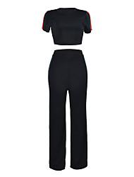 cheap -Women's Cute Casual Short T-shirt - Color Block Pant