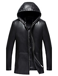 cheap -Men's Daily Simple Casual Fall Leather Jacket,Solid Hooded Long Sleeve Regular Lambskin