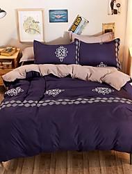 baratos -Conjunto de Capa de Edredão Sólido 4 Peças 100% algodão Impressão Reactiva 100% algodão 4peças (1 edredão, 1 lençol, 2 coberturas)