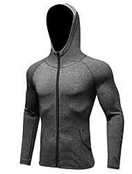 cheap -Men's Running Jacket - Black, Grey Sports Hoodie / Sweatshirt Fitness, Gym, Workout Long Sleeve Activewear Anatomic Design, Breathability, Stretchy Stretchy