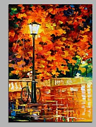 cheap -Hand-Painted Landscape Vertical,Artistic Classic Casual Birthday Modern/Contemporary Office One Panel Oil Painting