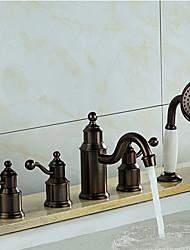 levne -Vana a sprcha Keramický ventil Tři Rukojeti pěti jamkách Olejem leštěný bronz, Vanová baterie