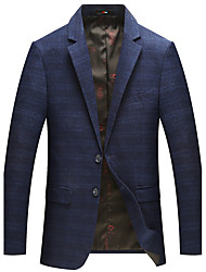 cheap -Men's Party Work OL Style Office/career Korean Winter Fall Blazer,Solid Shirt Collar Long Sleeve Regular Rayon Polyester
