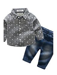 cheap -Baby Boys' Daily Polka Dot Clothing Set, Cotton Autumn/Fall Long Sleeves Gray