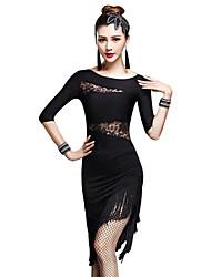Devemos roupas de dança latina desempenho das mulheres borracha de fibra de leite (s) meia luva shorts de vestido alto