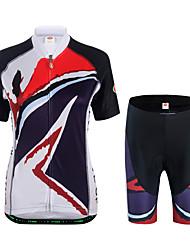 economico -Per donna Manica corta Maglia con pantaloncini da ciclismo - Bianco Bicicletta Set di vestiti