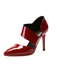 preiswerte -Damen Schuhe Leder Frühling Herbst Pumps High Heels Für Normal Weiß Schwarz Rot
