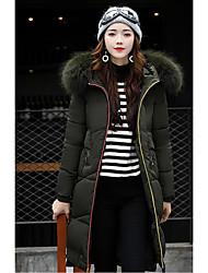 Manteau Rembourré Femme,Longue Chic de Rue Sortie Couleur Pleine-Polyester Polyester Manches Longues
