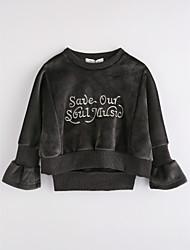 cheap -Girls' Solid Blouse,Cotton Fall Long Sleeve Dark Gray