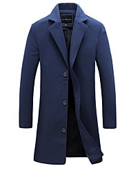Men's Party Daily Simple Casual Winter Fall Trench Coat,Solid Shirt Collar Long Sleeve Long Cotton