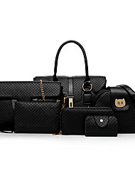 preiswerte -Damen Taschen PU Bag Set 6 Stück Geldbörse Set Reißverschluss für Normal Ganzjährig Gold Schwarz Grau Dunkelbraun