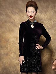 baratos -Mulheres Tamanhos Grandes Tubinho Vestido - Estampado Colarinho Chinês Cintura Baixa Acima do Joelho