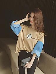 preiswerte -Damen Einfarbig Festtage Pullover Standard Langärmelige Rundhalsausschnitt Herbst Leinen