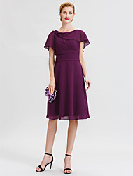 cheap -A-Line Cowl Neck Knee Length Chiffon Mother of the Bride Dress with Sash / Ribbon Crystal Brooch by LAN TING BRIDE®