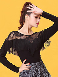 cheap -Latin Dance Tops Women's Performance Ice Silk Lace Tassel(s) Long Sleeve Tops