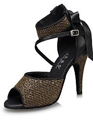 Недорогие -Для женщин Латина Натуральная кожа Сетка На каблуках Для закрытой площадки С пряжкой Высокий каблук Черный Персонализируемая