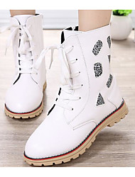Girls' Shoes PU Fall Winter Comfort Snow Boots Boots For Casual Red Black White
