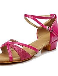 cheap -Women's Latin Shoes Paillette Sports & Outdoors / Heel Low Heel Customizable Dance Shoes Fuchsia