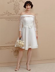cheap -A-Line Off Shoulder Short / Mini Satin Sheer Lace Wedding Dress with Sashes/ Ribbons Flower by LAN TING BRIDE®