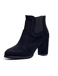 baratos -Mulheres Sapatos Camurça Outono Botas da Moda Botas Ponta Redonda Botas Cano Médio Elástico para Preto / Cinzento / Marron