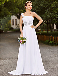 cheap -A-Line One Shoulder Court Train Chiffon Satin Wedding Dress with Beading Draping by LAN TING BRIDE®