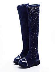 baratos -Para Meninas Sapatos Couro Outono / Inverno Botas de Neve Botas para Preto / Azul