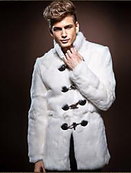 Недорогие -Муж. Пальто с мехом Воротник-стойка Однотонный Искусственный мех