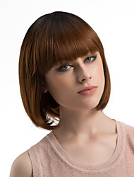 abordables -Pelucas sintéticas Recto Pelo Ombre Corte Bob Con flequillo Sin Tapa Mujer Marrón Peluca natural Media