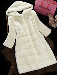 cheap -Women's Daily Formal Evening First Communion Valentine's Day New Year Elegant & Luxurious Winter Fur Coat,Solid Color Hooded Long Sleeve